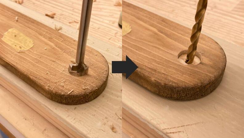 ドリルで木材加工