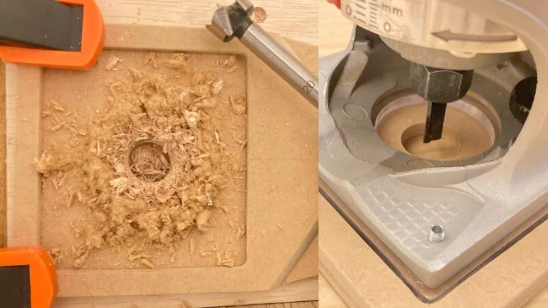 MDF材に穴を開けてトリマーをセット